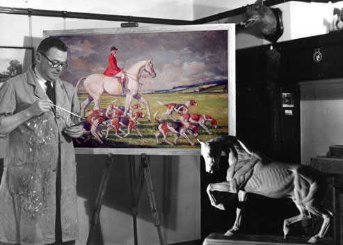 "Joseph Appleyard at home with his painting ""Going to the Meet"""